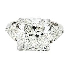 GIA Certified 7.10 Carat Cushion Cut Diamond Three-Stone Ring