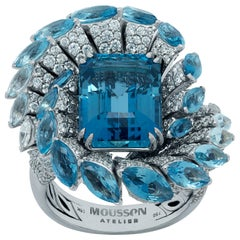 GIA Certified 7.14 Carat Santa-Maria Aquamarine Diamond 18 Karat White Gold Ring