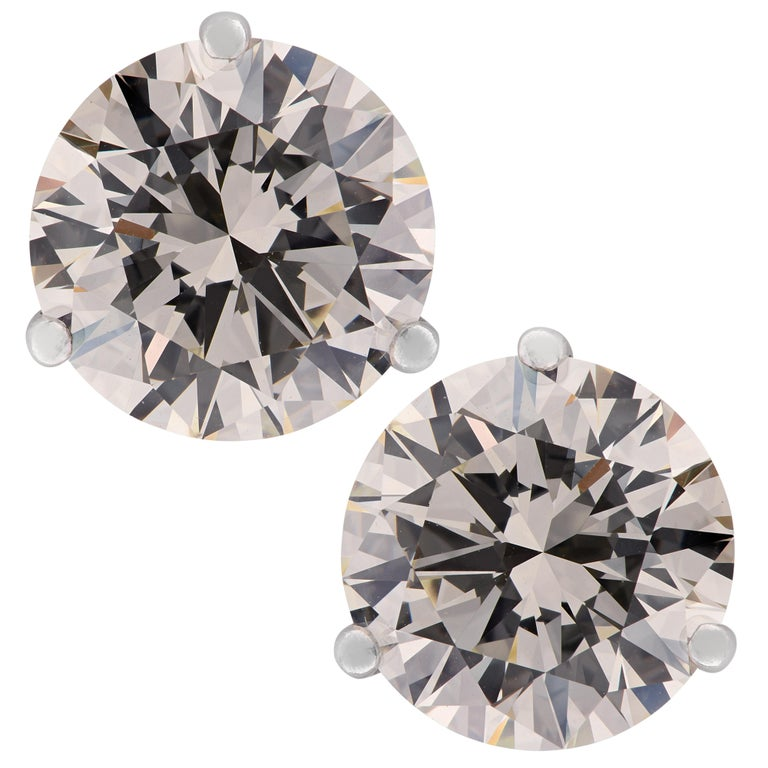 Vivid Diamonds GIA Certified 7.19 Carat Diamond Stud Earrings For Sale