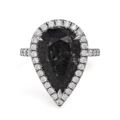 GIA Certified 7.19 Carat Fancy Dark Gray Diamond Halo Engagement Ring