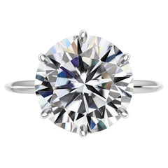 Exceptional GIA Certified 6.51 Carat Round Brilliant Cut Diamond Ring Triple Ex