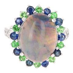GIA Certified 7.24 Carat Opal Sapphire Diamond 14 Karat White Gold Cocktail Ring
