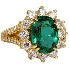 """GIA Certified 7.26 Carat Natural Emerald Diamonds Ring 18 Karat """"F2"""" Halo Prime"""