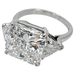 GIA Certified 7.27 Carat Diamond Engagement Ring with Side Trillions in Platinum