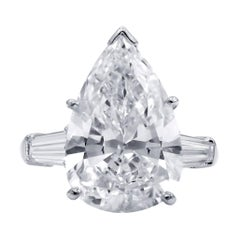 GIA Certified 7.28 Carat H-VS2 Pear Shape Diamond Platinum Engagement Ring