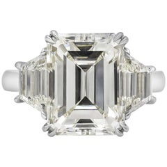 GIA Certified 7.31 Carat Emerald Cut Diamond Three-Stone Engagement Ring