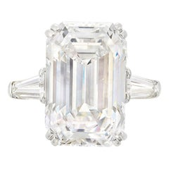 GIA Certified 7.32 Carat Emerald Cut Diamond Ring Investment Grade