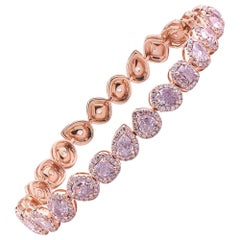 GIA Certified 7.33 Carat Fancy Light Pink Natural Diamond 18k Rose Gold Bracelet