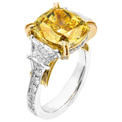 GIA Certified 7.35 Carat Fancy Brown Yellow Cushion Three-Stone Ring