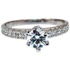 GIA Certified .73 Carat Round Cut Diamond Raised Tulip Ring Platinum