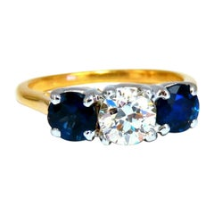 GIA Certified .73ct Round Diamond Sapphires Three Stone Ring 14kt