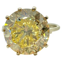 GIA Certified 7.41 Carat Fancy Intense Yellow Diamond Solitaire Ring