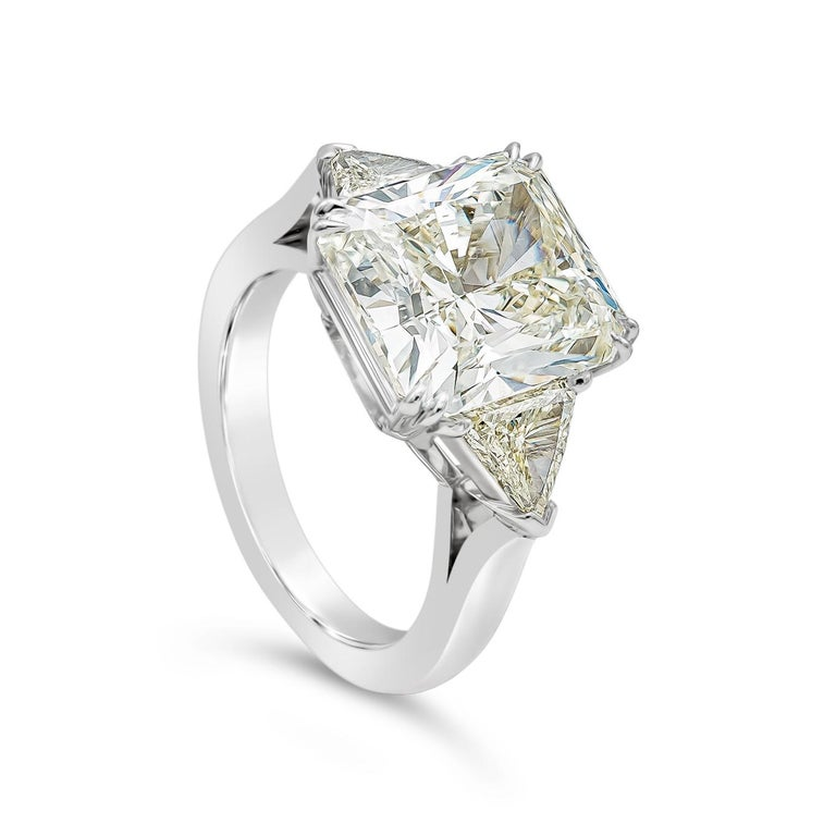 Contemporary GIA Certified 7.41 Carat Radiant Cut Diamond Three-Stone Engagement Ring For Sale