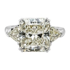 GIA Certified 7.41 Carat Radiant Cut Diamond Three-Stone Engagement Ring