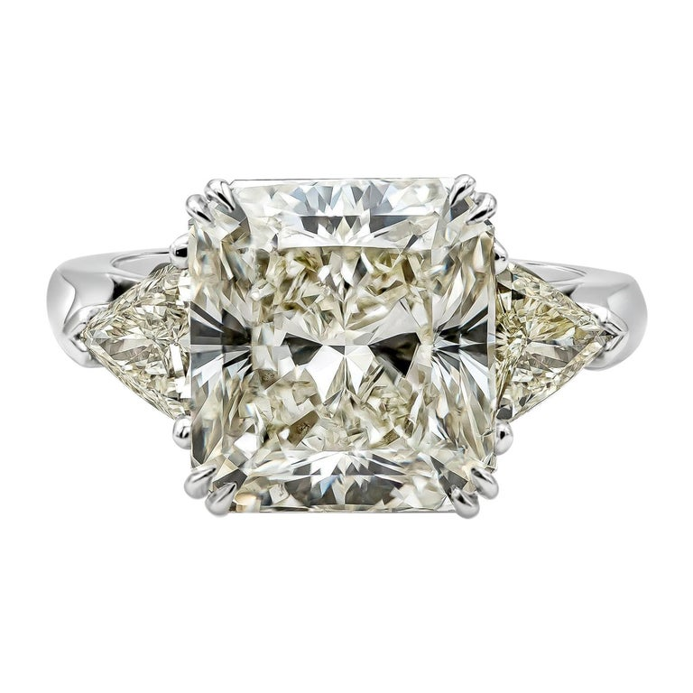 GIA Certified 7.41 Carat Radiant Cut Diamond Three-Stone Engagement Ring For Sale