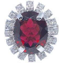 GIA Certified 7.46 Karat Natural Red Tourmaline White Diamond Cocktail Ring