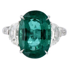Laviere GIA Certified 7.49 Carat Zambian Emerald and Diamond Ring