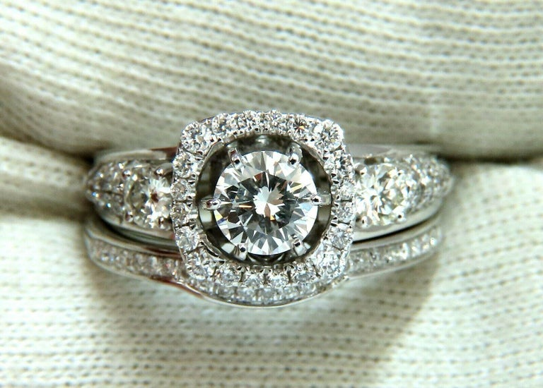 GIA Certified .74 Carat Round Cut Diamond and 1.00 Carat Ring 14 Karat and Band For Sale 5