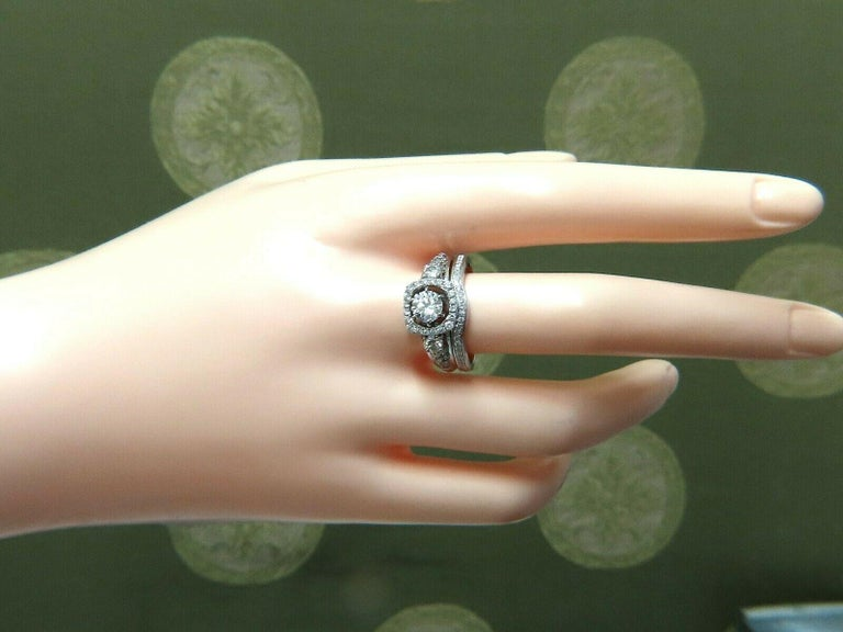 GIA Certified .74 Carat Round Cut Diamond and 1.00 Carat Ring 14 Karat and Band In New Condition For Sale In New York, NY