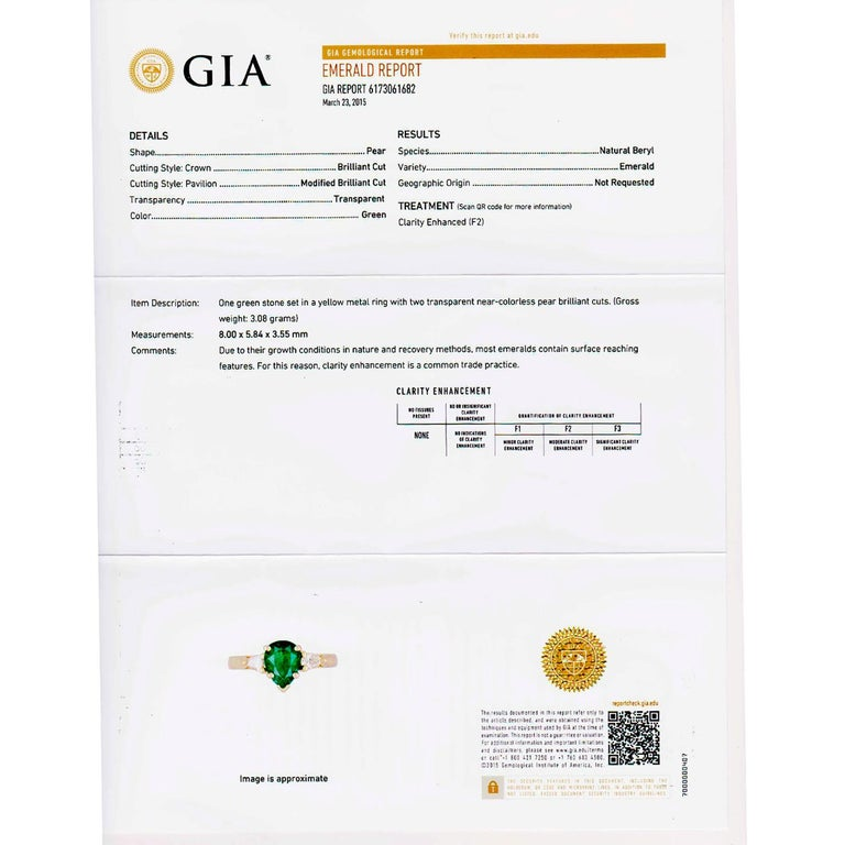 Emerald Cut GIA Certified .75 Carat Emerald Diamond Yellow Gold Three-Stone Engagement Ring For Sale