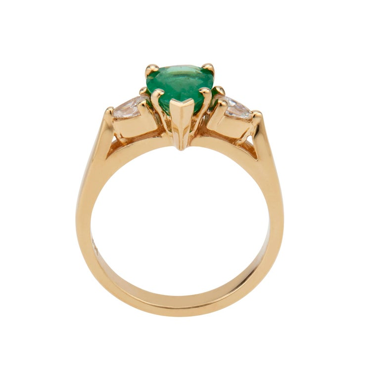 GIA Certified .75 Carat Emerald Diamond Yellow Gold Three-Stone Engagement Ring In Good Condition For Sale In Stamford, CT
