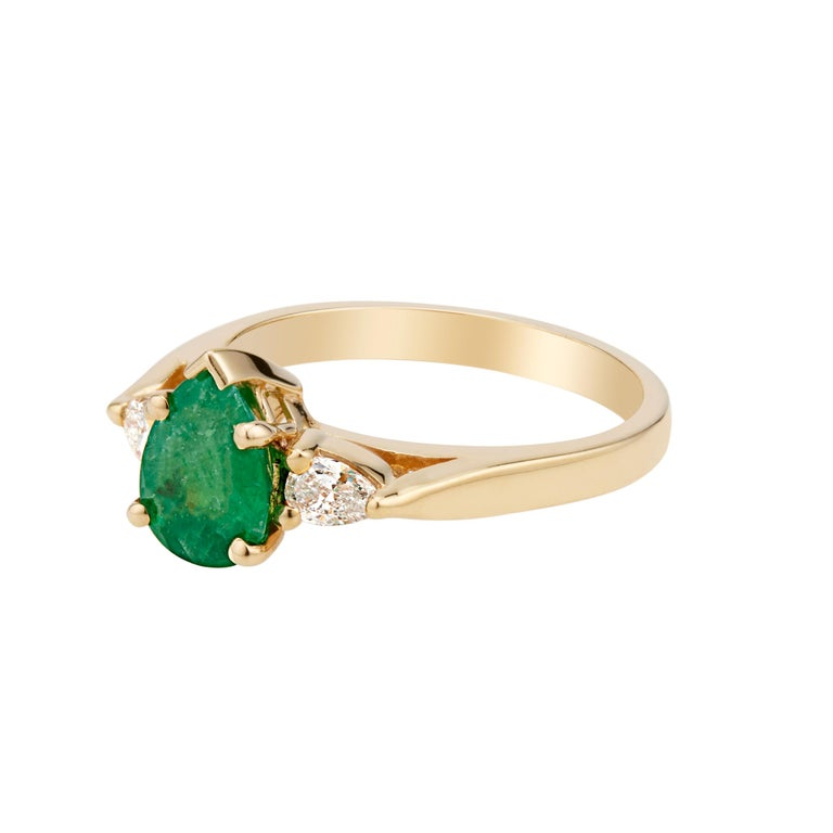 Women's GIA Certified .75 Carat Emerald Diamond Yellow Gold Three-Stone Engagement Ring For Sale