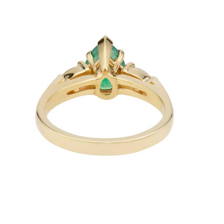 GIA Certified .75 Carat Emerald Diamond Yellow Gold Three-Stone Engagement Ring For Sale 1