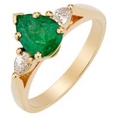 GIA Certified .75 Carat Emerald Diamond Yellow Gold Three-Stone Engagement Ring