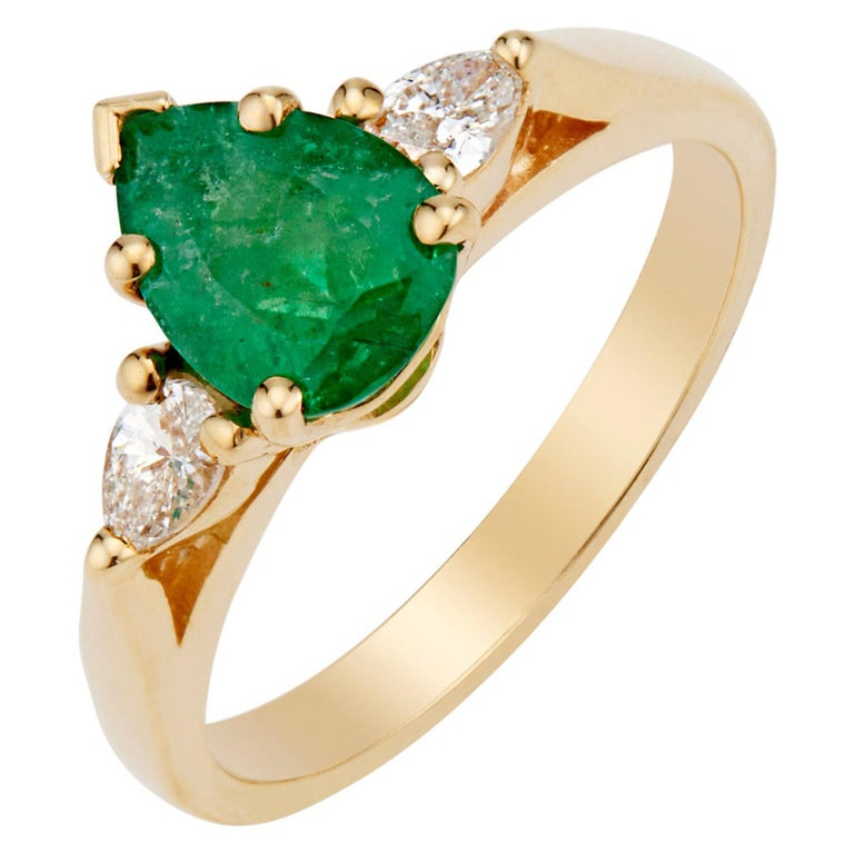 GIA Certified .75 Carat Emerald Diamond Yellow Gold Three-Stone Engagement Ring For Sale