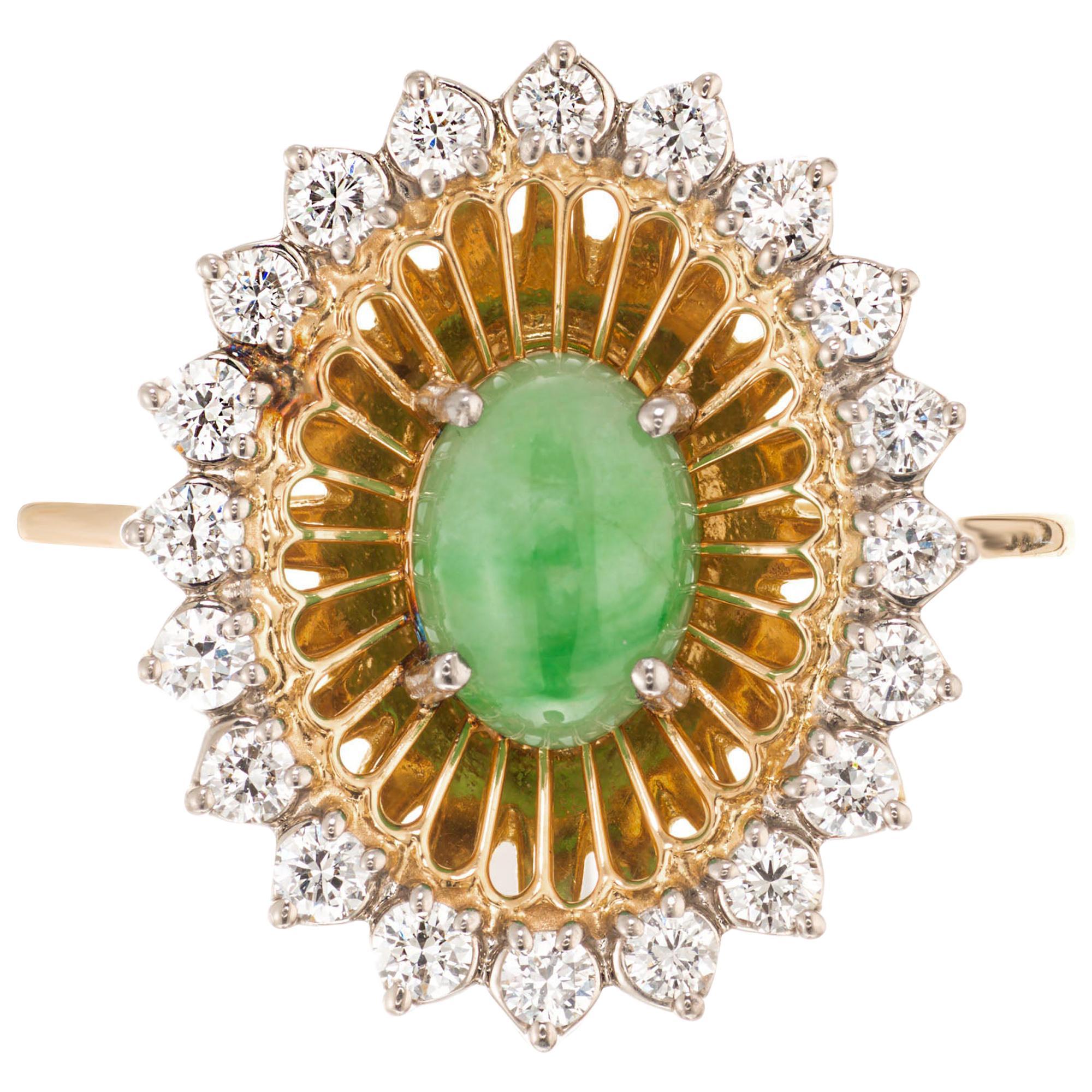 GIA Certified .75 Carat Jadeite Jade Diamond Yellow Gold Cocktail Ring