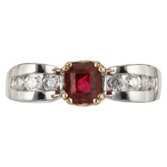 GIA Certified .75 Carat Ruby Diamond Gold Engagement Ring