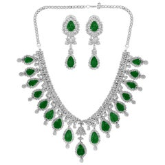 GIA Certified 75 Ct Emerald and 45 Ct Diamond Necklace and Earring Bridal Suite