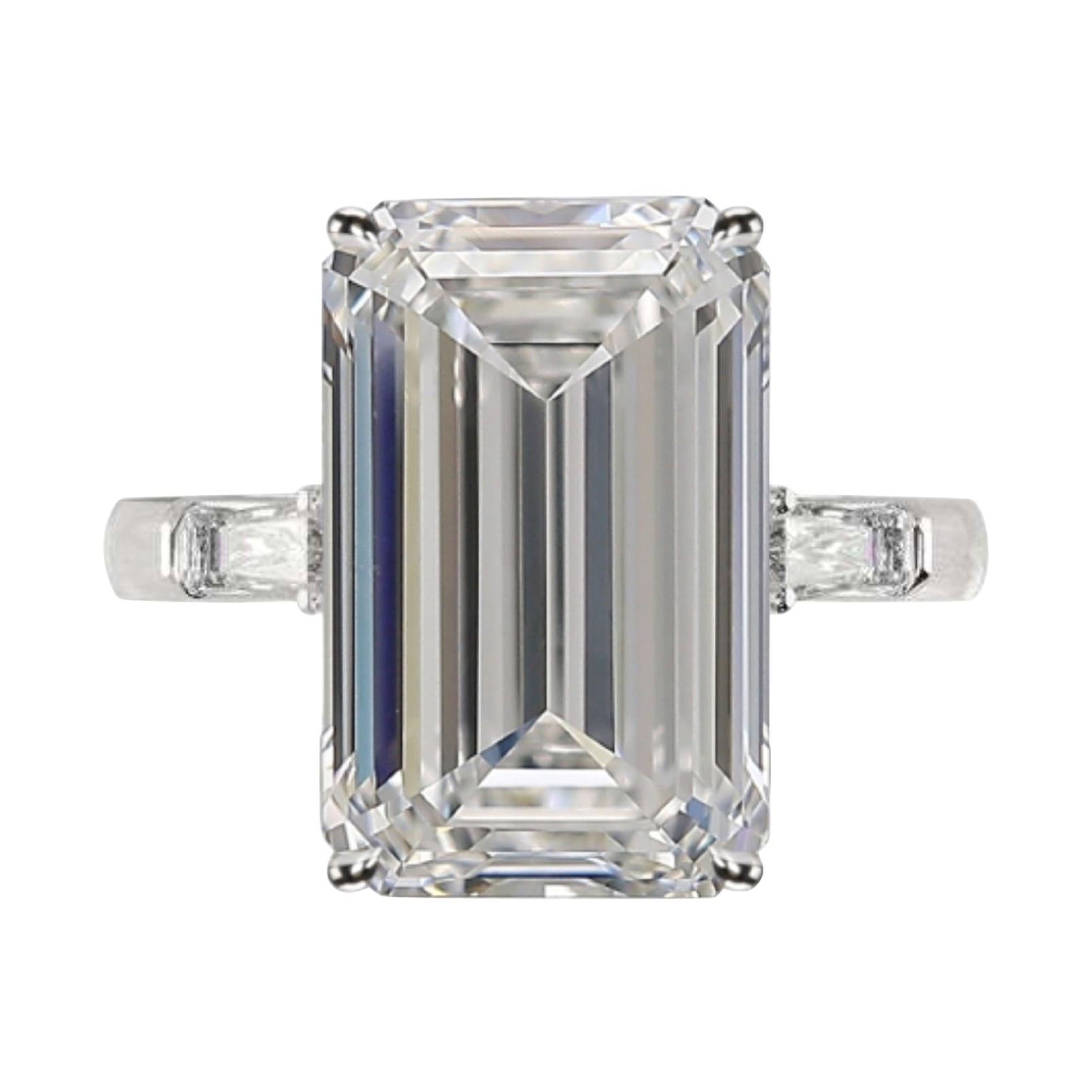 GIA Certified 5.65 Carat Emerald Cut Diamond Ring Very Long Ratio D Color VS2