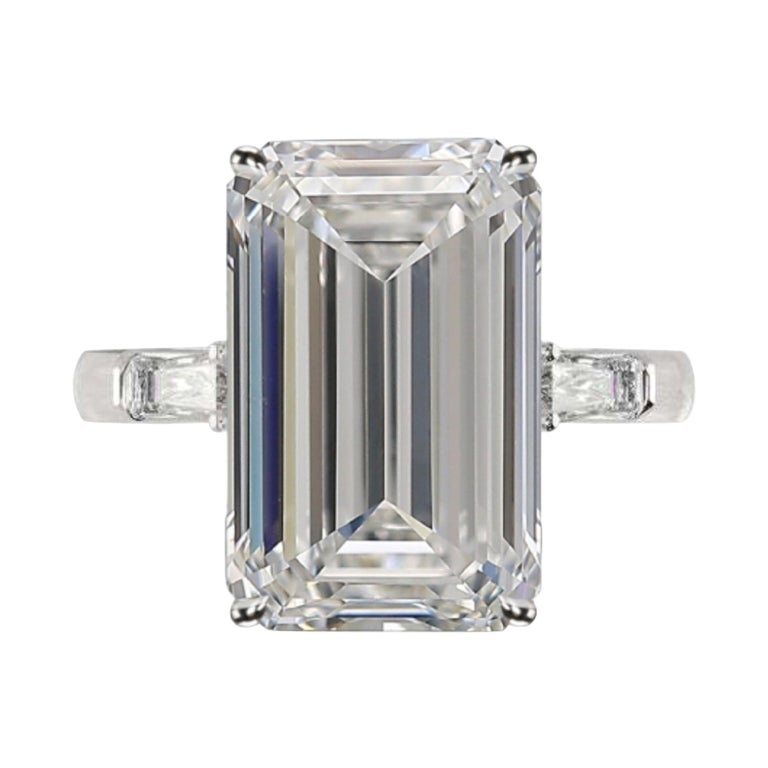 GIA Certified 7.50 Carat Emerald Cut Diamond Ring Very Long Ratio F Color VVS2 For Sale