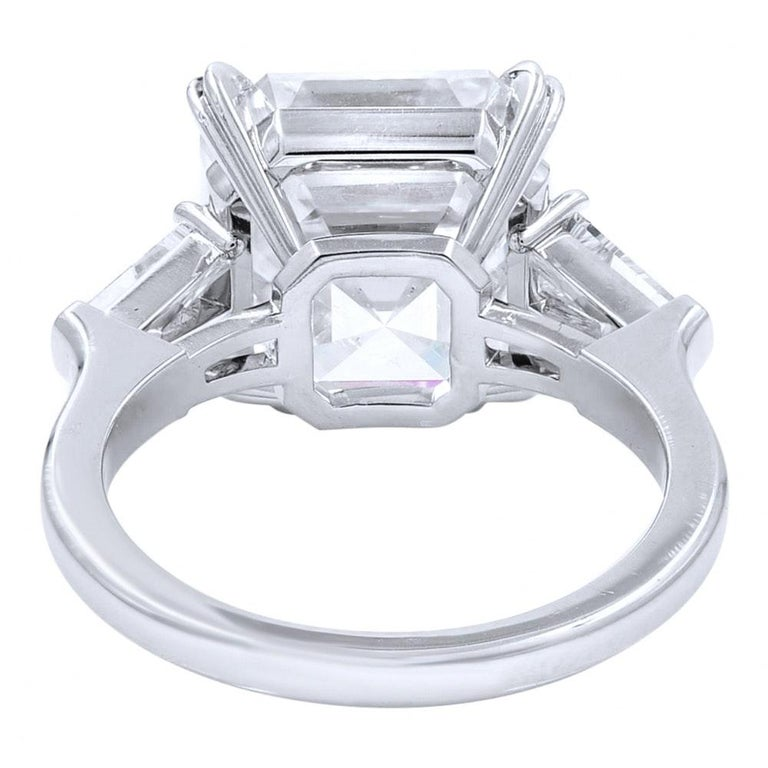 Modern FLAWESS GIA Certified 5 Carat Asscher Cut Diamond Solitaire Ring For Sale