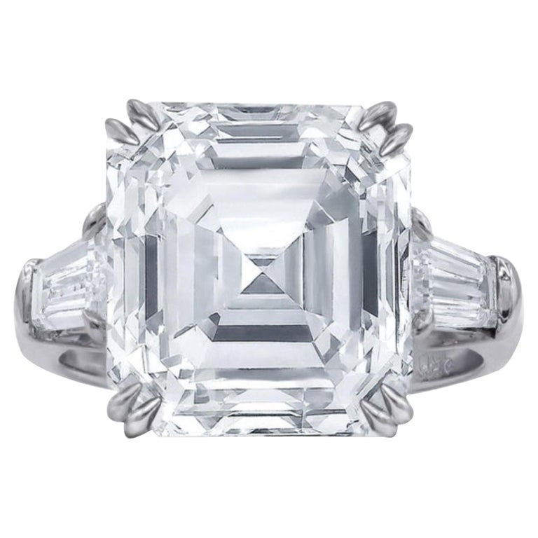 FLAWESS GIA Certified 5 Carat Asscher Cut Diamond Solitaire Ring For Sale