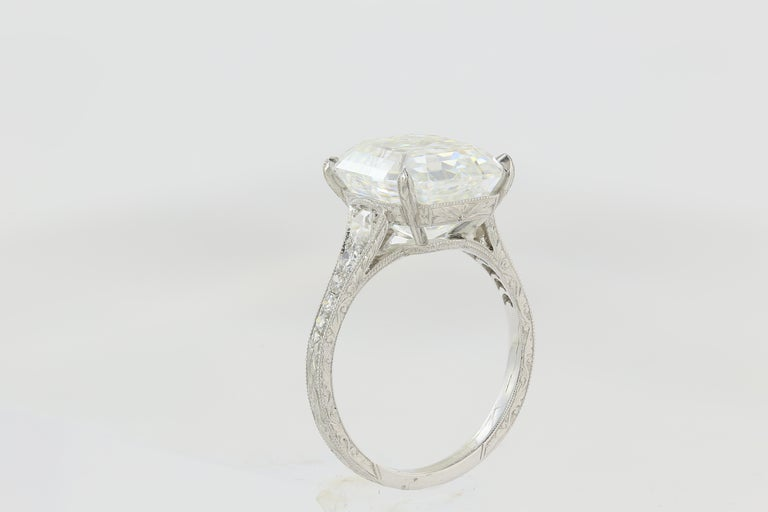 Contemporary 7.51 Carat Asscher F VS1 GIA Cut Engagement Ring For Sale