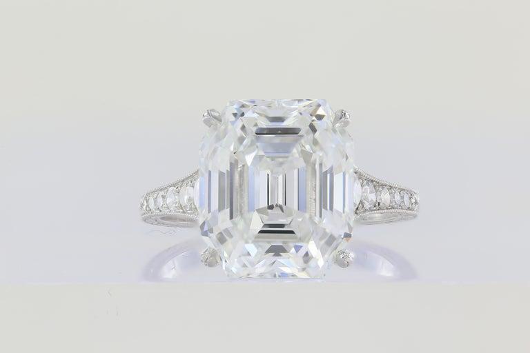 Asscher Cut 7.51 Carat Asscher F VS1 GIA Cut Engagement Ring For Sale