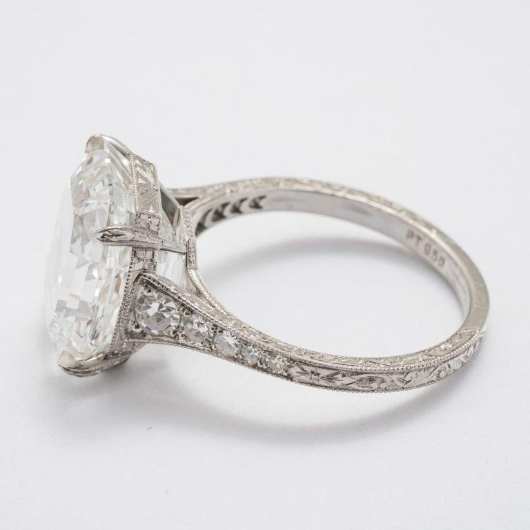 7.51 Carat Asscher F VS1 GIA Cut Engagement Ring For Sale 1