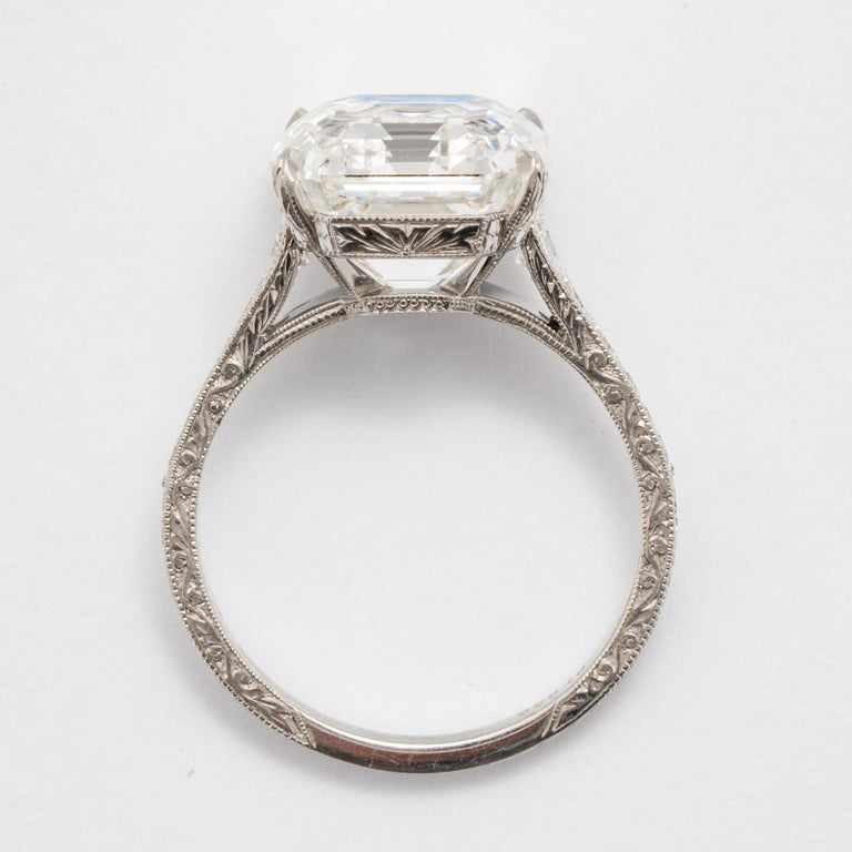 7.51 Carat Asscher F VS1 GIA Cut Engagement Ring For Sale 2