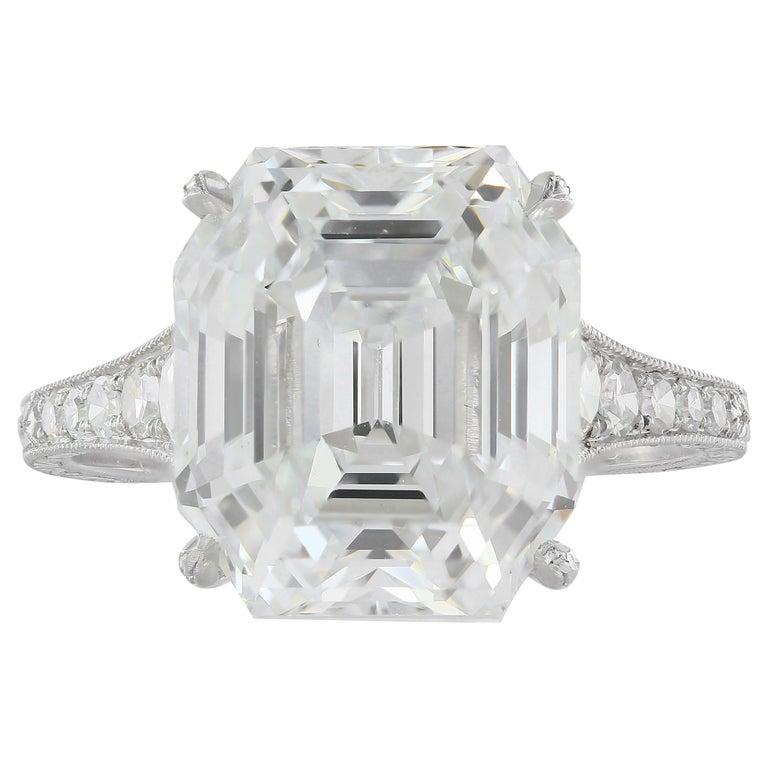 7.51 Carat Asscher F VS1 GIA Cut Engagement Ring For Sale