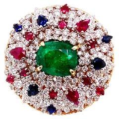 GIA Certified 7.55 Carat Natural Emerald 18 Karat White and Rose Gold Ring