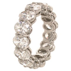 GIA Certified 7.60 Carat Oval Diamond Eternity Band in Platinum