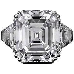 GIA Certified 7 Carat Asscher Cut Trapezoid Diamond Engagement Ring VVS2