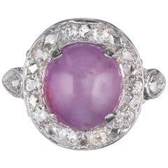 GIA Certified 7.77 Carat Star Sapphire Diamond White Gold Cabochon Ring