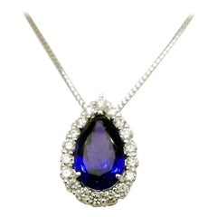 GIA Certified 7.78 Carat Pear Shaped Tanzanite Necklace with 1.29 Carat Diamonds
