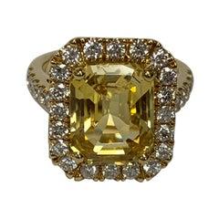 GIA Certified 7.79 Carat Yellow Sapphire Diamond Ring