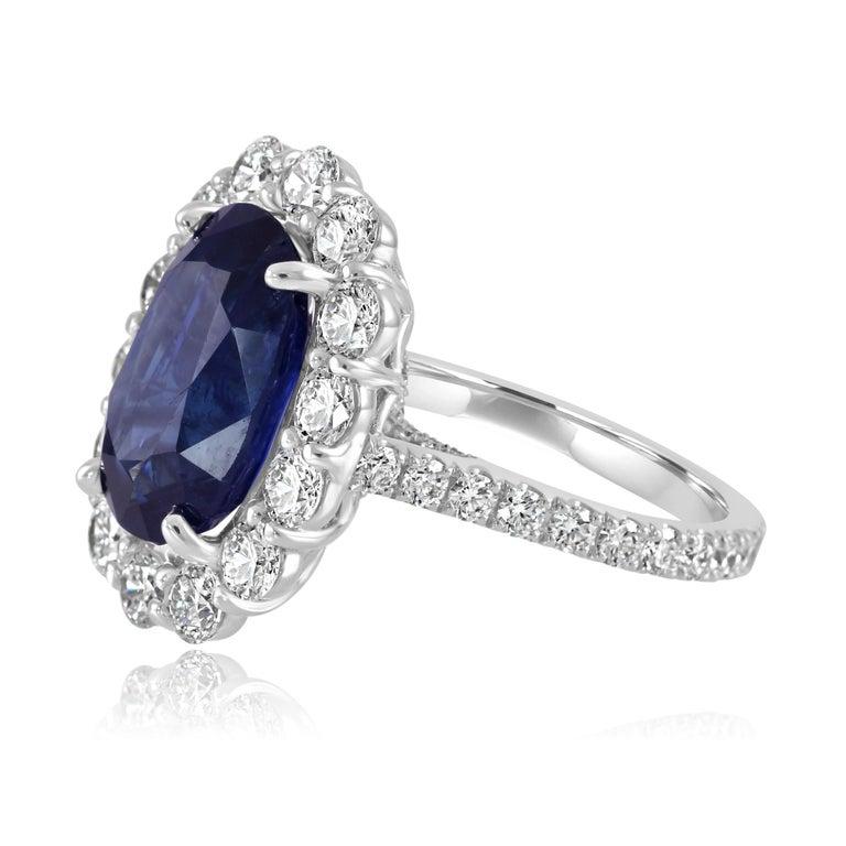 Oval Cut GIA Certified 7.85 Carat No Heat Burma Sapphire Diamond Halo White Gold Ring For Sale