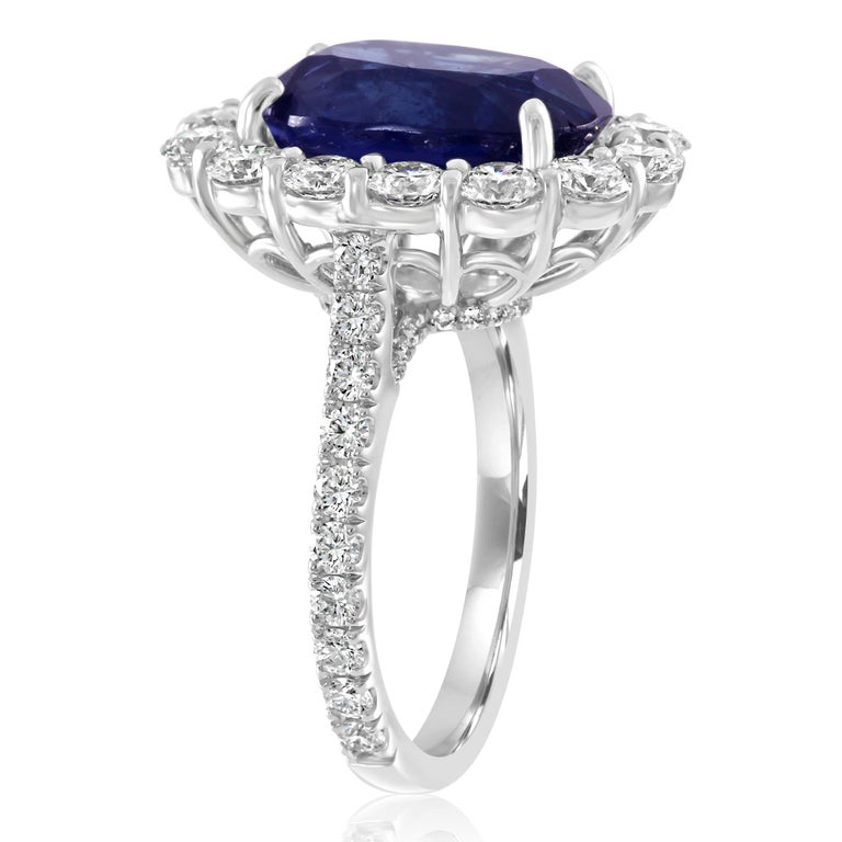 GIA Certified 7.85 Carat No Heat Burma Sapphire Diamond Halo White Gold Ring In New Condition For Sale In NEW YORK, NY