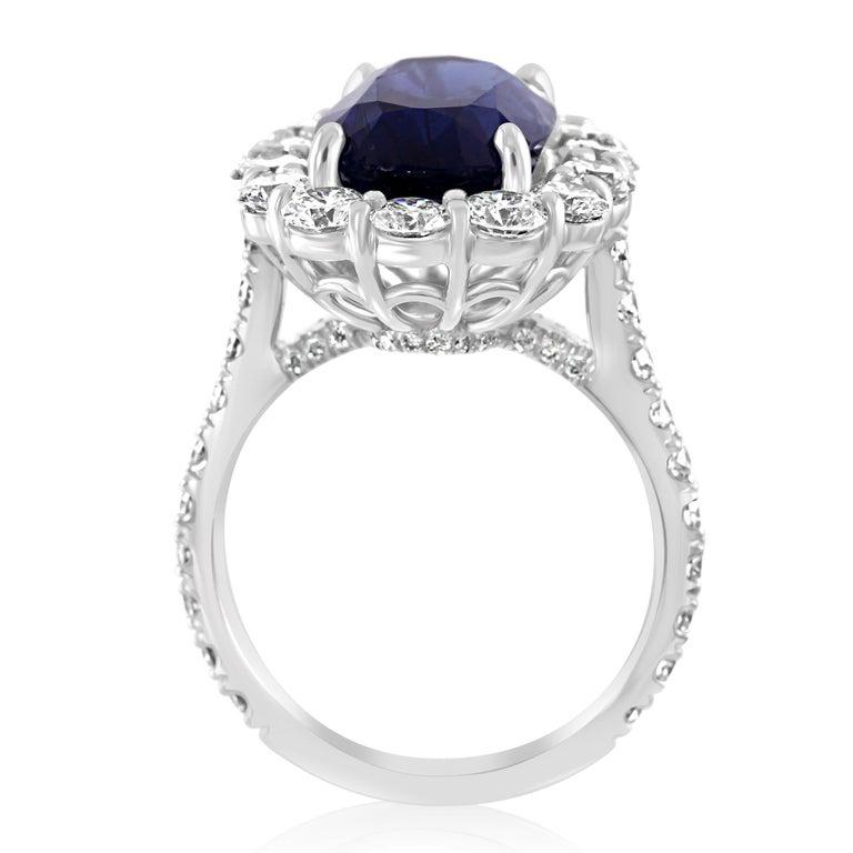GIA Certified 7.85 Carat No Heat Burma Sapphire Diamond Halo White Gold Ring For Sale 1